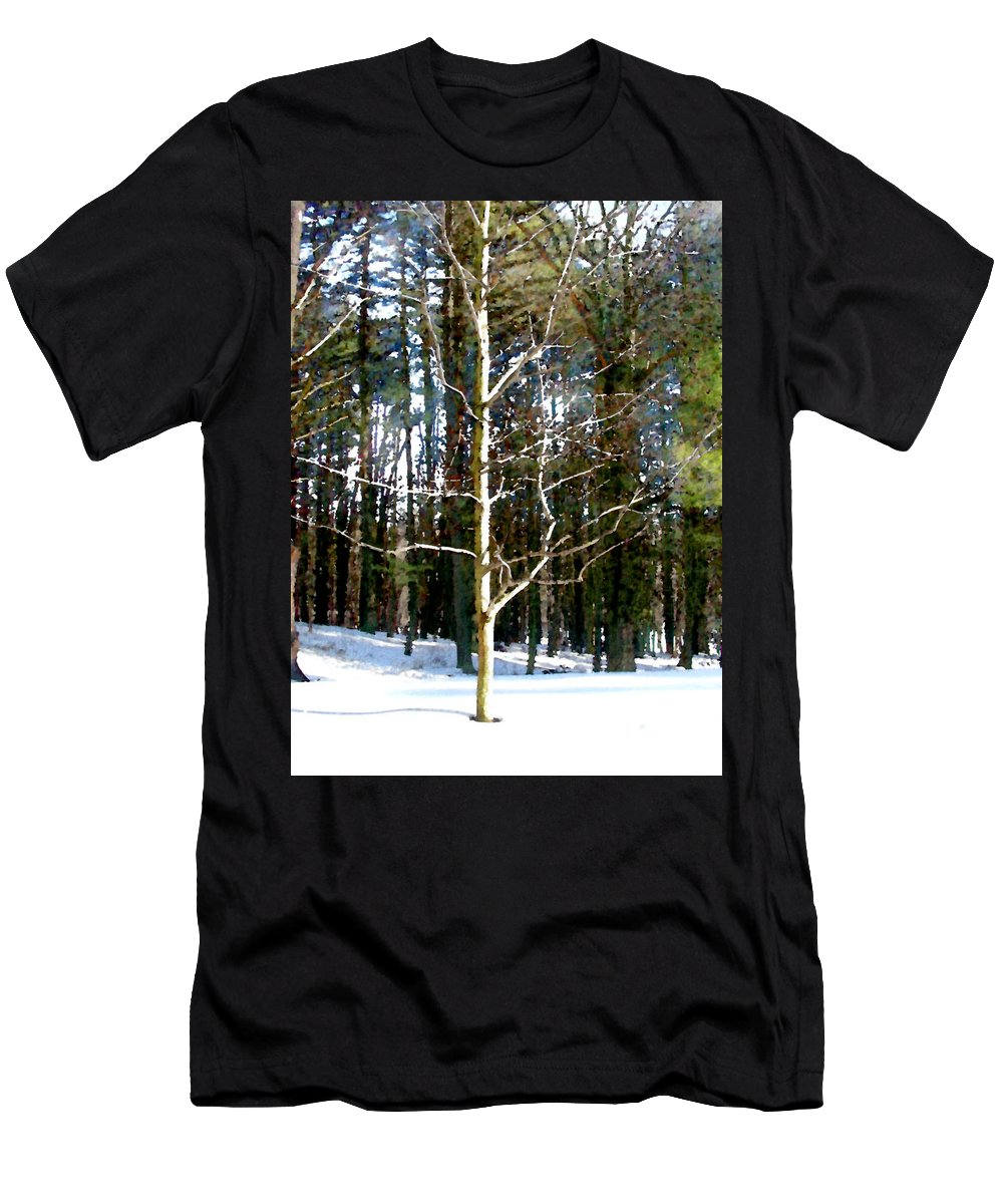Trees Men's T-Shirt (Athletic Fit) featuring the painting Lone Tree by Paul Sachtleben