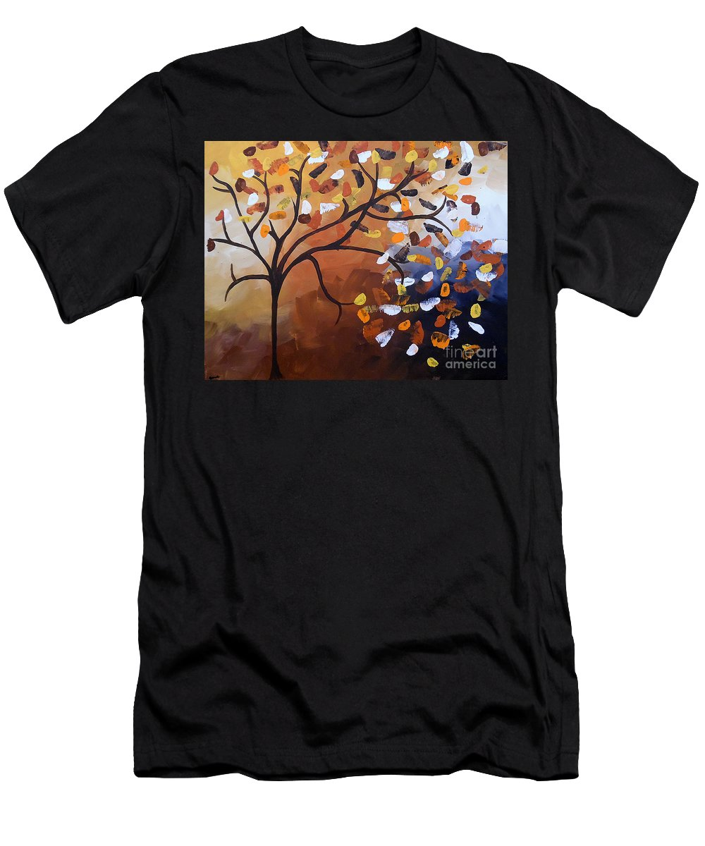 Contemporary Tree Men's T-Shirt (Athletic Fit) featuring the painting Lonely Breeze by Jilian Cramb - AMothersFineArt