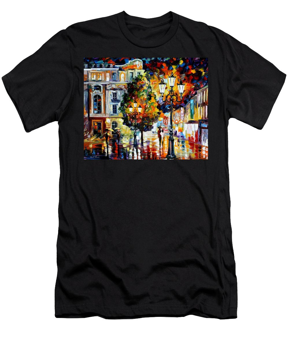 Afremov Men's T-Shirt (Athletic Fit) featuring the painting Lonely Couples by Leonid Afremov