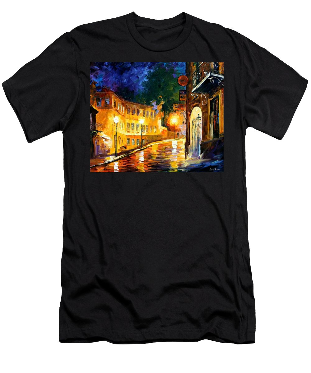 Afremov Men's T-Shirt (Athletic Fit) featuring the painting Lonely Night by Leonid Afremov