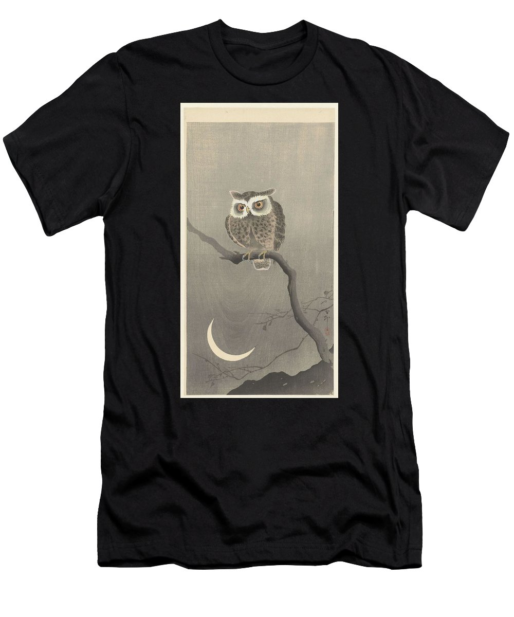 Art Men's T-Shirt (Athletic Fit) featuring the painting Long-eared Owl On Bare Tree Branch, Ohara Koson, 1900 - 1930 by Artistic Rifki