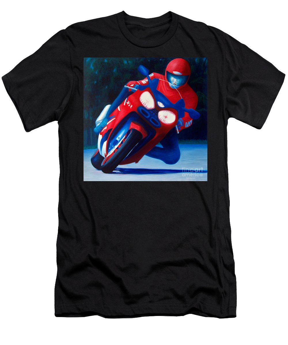 Motorcycle Men's T-Shirt (Athletic Fit) featuring the painting Long Shadows - Kawasaki Zx6 by Brian Commerford