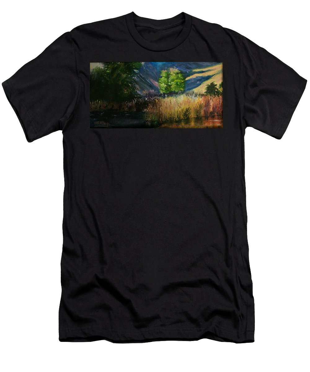 Landscape Men's T-Shirt (Athletic Fit) featuring the painting Long Shadows by Stephen King