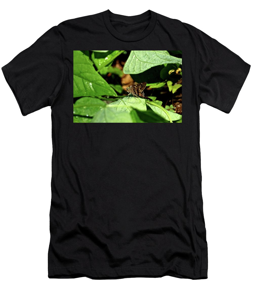 Animal Men's T-Shirt (Athletic Fit) featuring the photograph Long Tail Skipper Butterfly 1 by John Trommer