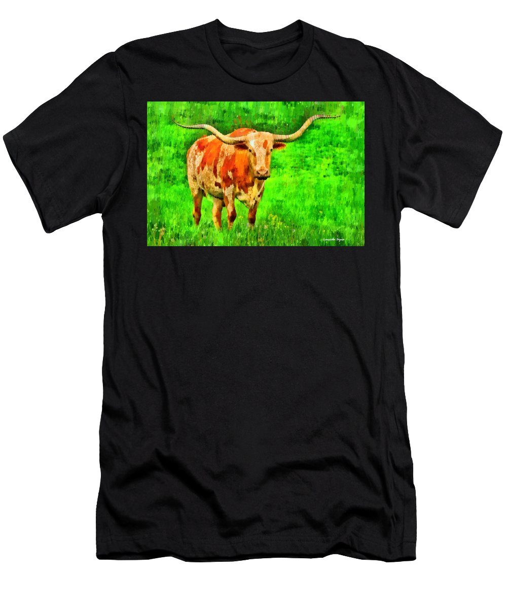 Long-horn Men's T-Shirt (Athletic Fit) featuring the painting Longhorn 2 - Pa by Leonardo Digenio