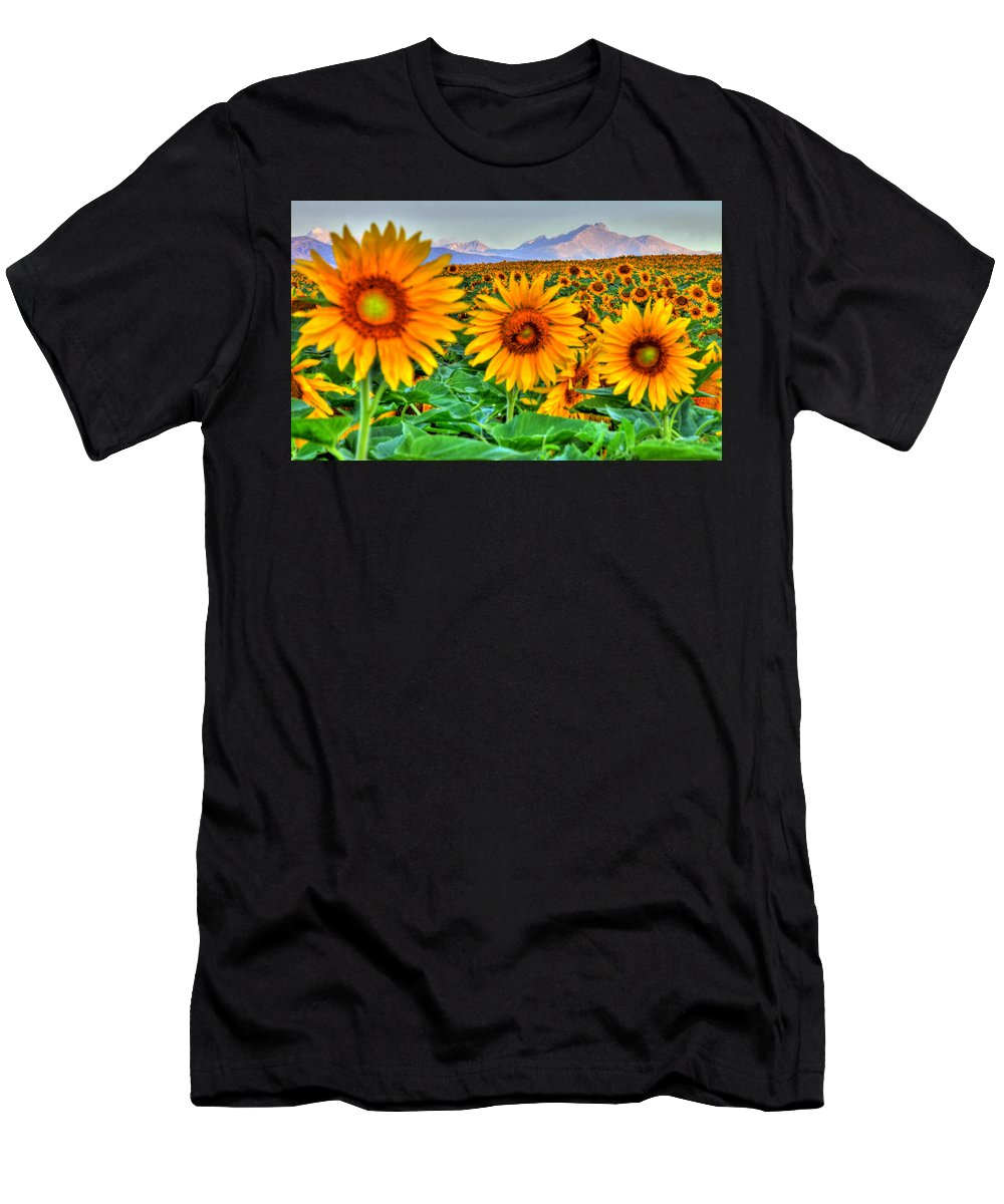 Mountains Men's T-Shirt (Athletic Fit) featuring the photograph Longs Sunflowers by Scott Mahon