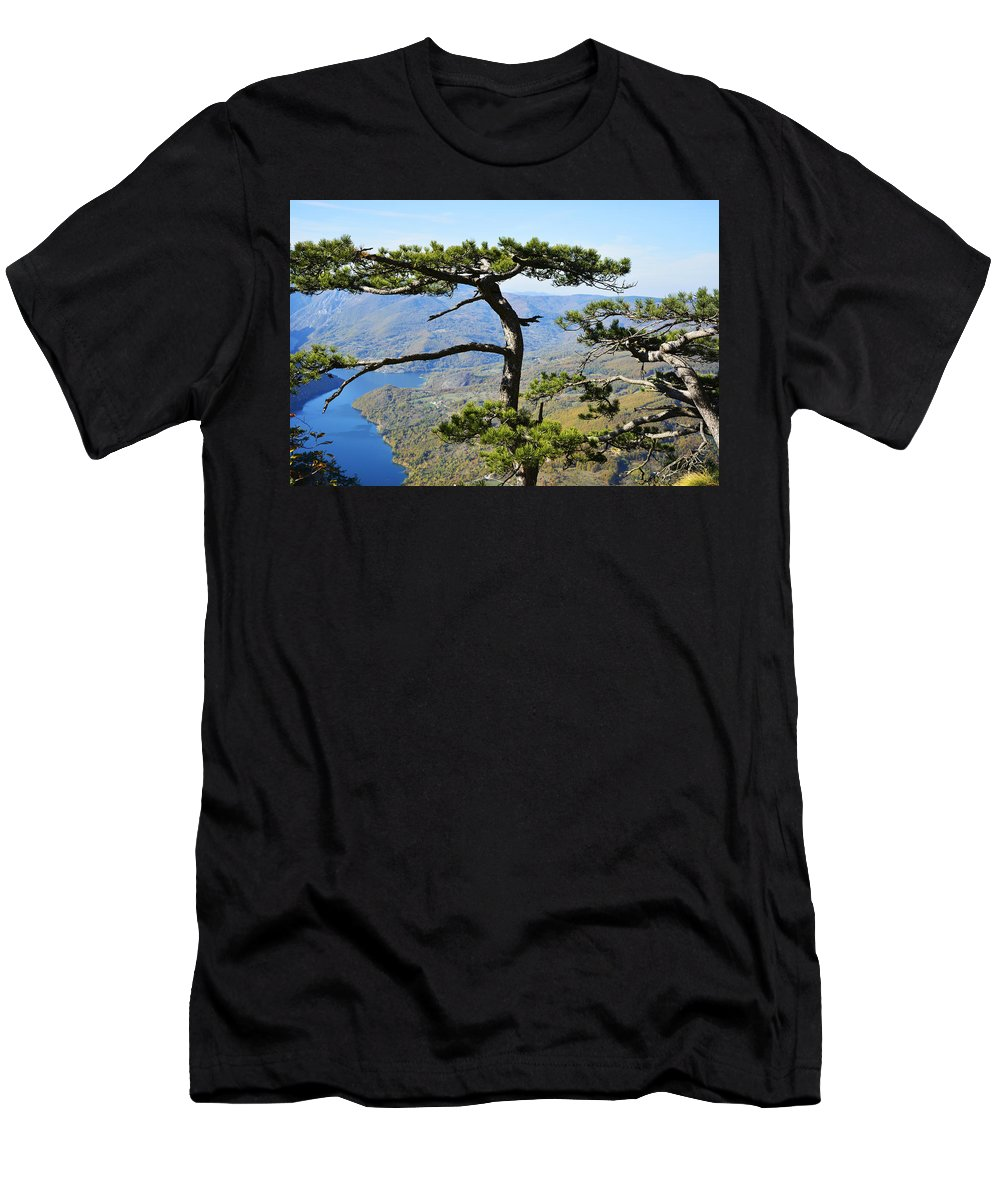 Lake Men's T-Shirt (Athletic Fit) featuring the photograph Look At The Pine Trees And The Lake by Predrag Lukic
