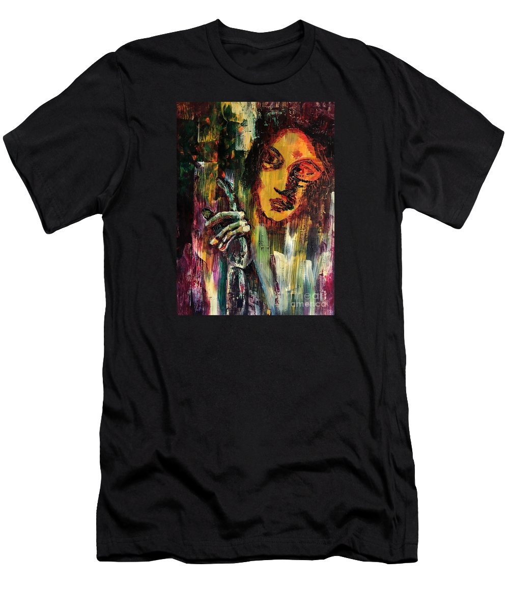 Spirituality Men's T-Shirt (Athletic Fit) featuring the painting Look by Uwe Hoche