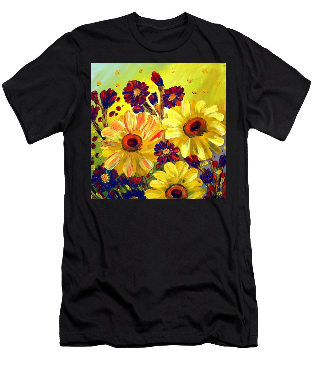 Flowers Men's T-Shirt (Athletic Fit) featuring the painting Looking At Sun by Luiza Vizoli