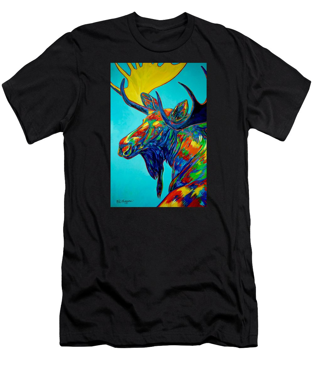 Moose Men's T-Shirt (Athletic Fit) featuring the painting Looking Back by Derrick Higgins