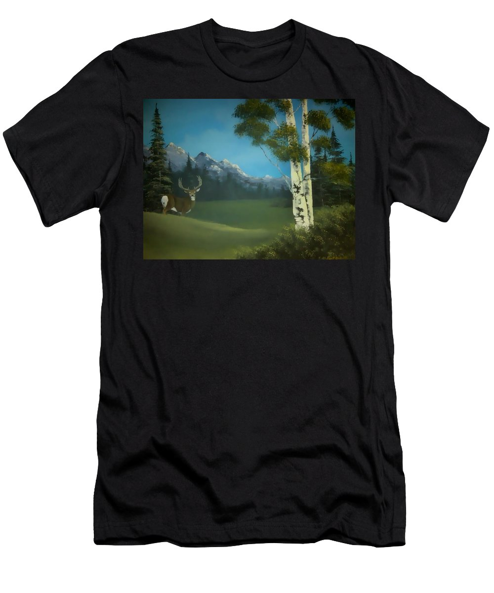 Deer Men's T-Shirt (Athletic Fit) featuring the painting Looking Back by Glen Mcclements