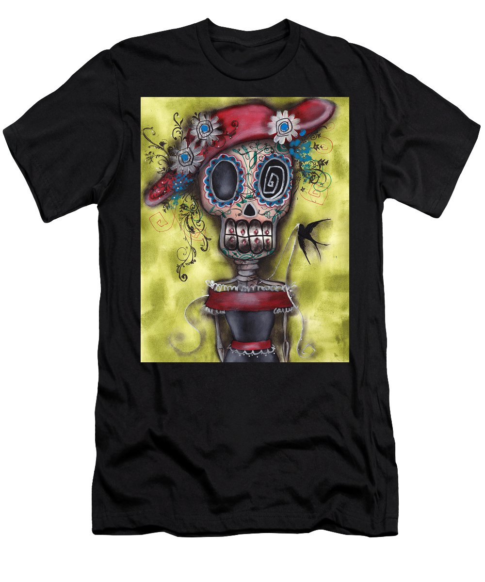 Day Of The Dead Paintings Men's T-Shirt (Athletic Fit) featuring the painting Looking For Love by Abril Andrade Griffith