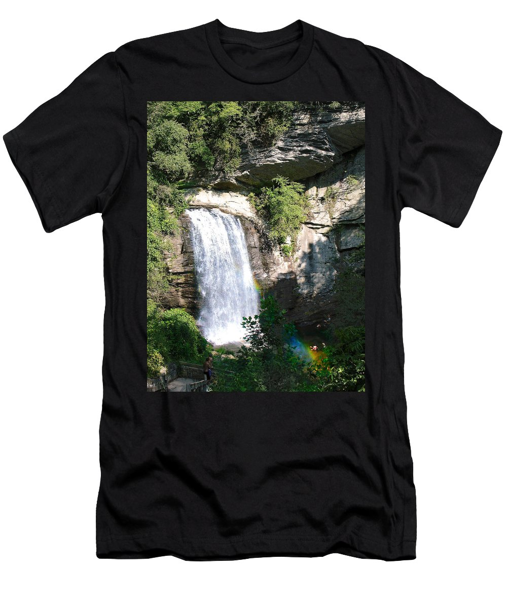 Landscape Men's T-Shirt (Athletic Fit) featuring the photograph Looking Glass Falls Nc by Steve Karol