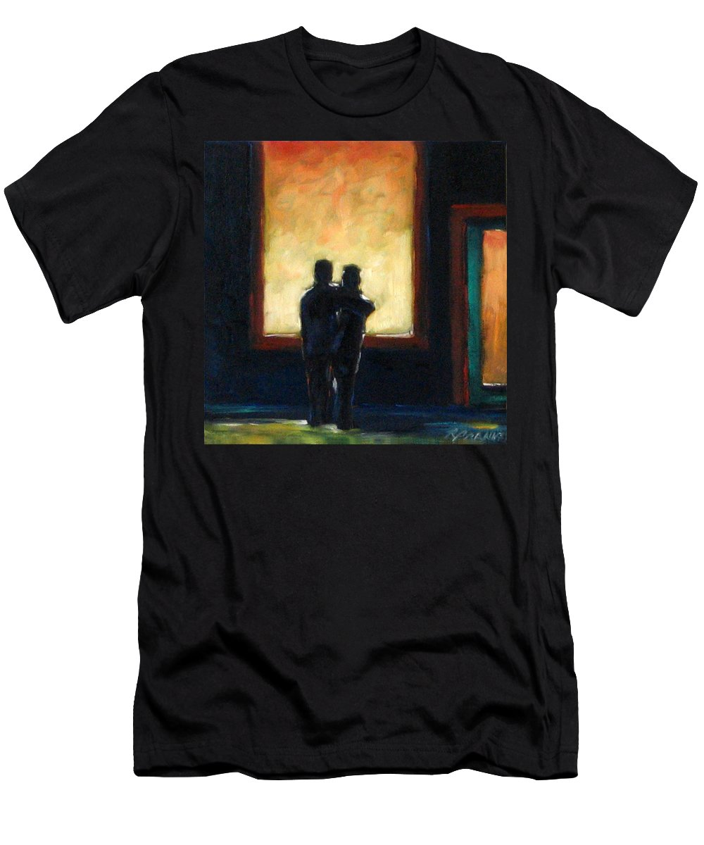 Town Men's T-Shirt (Athletic Fit) featuring the painting Looking In Looking Out Mini by Richard T Pranke