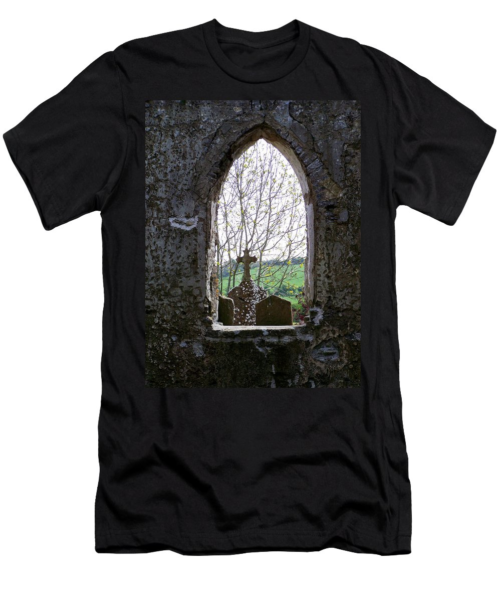 Ireland Men's T-Shirt (Athletic Fit) featuring the photograph Looking Out Fuerty Church Roscommon Ireland by Teresa Mucha