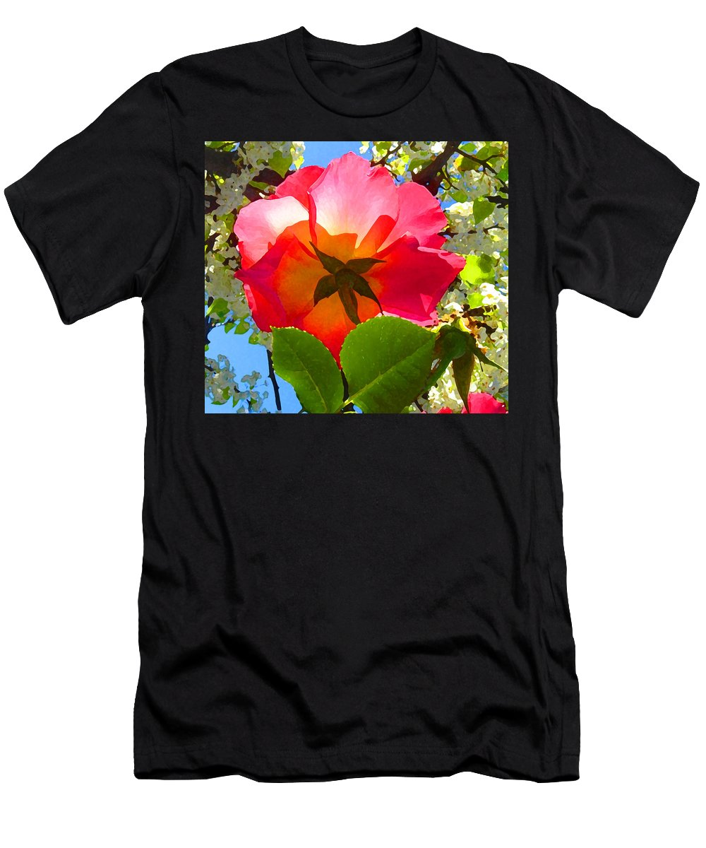 Roses Men's T-Shirt (Athletic Fit) featuring the photograph Looking Up At Rose And Tree by Amy Vangsgard