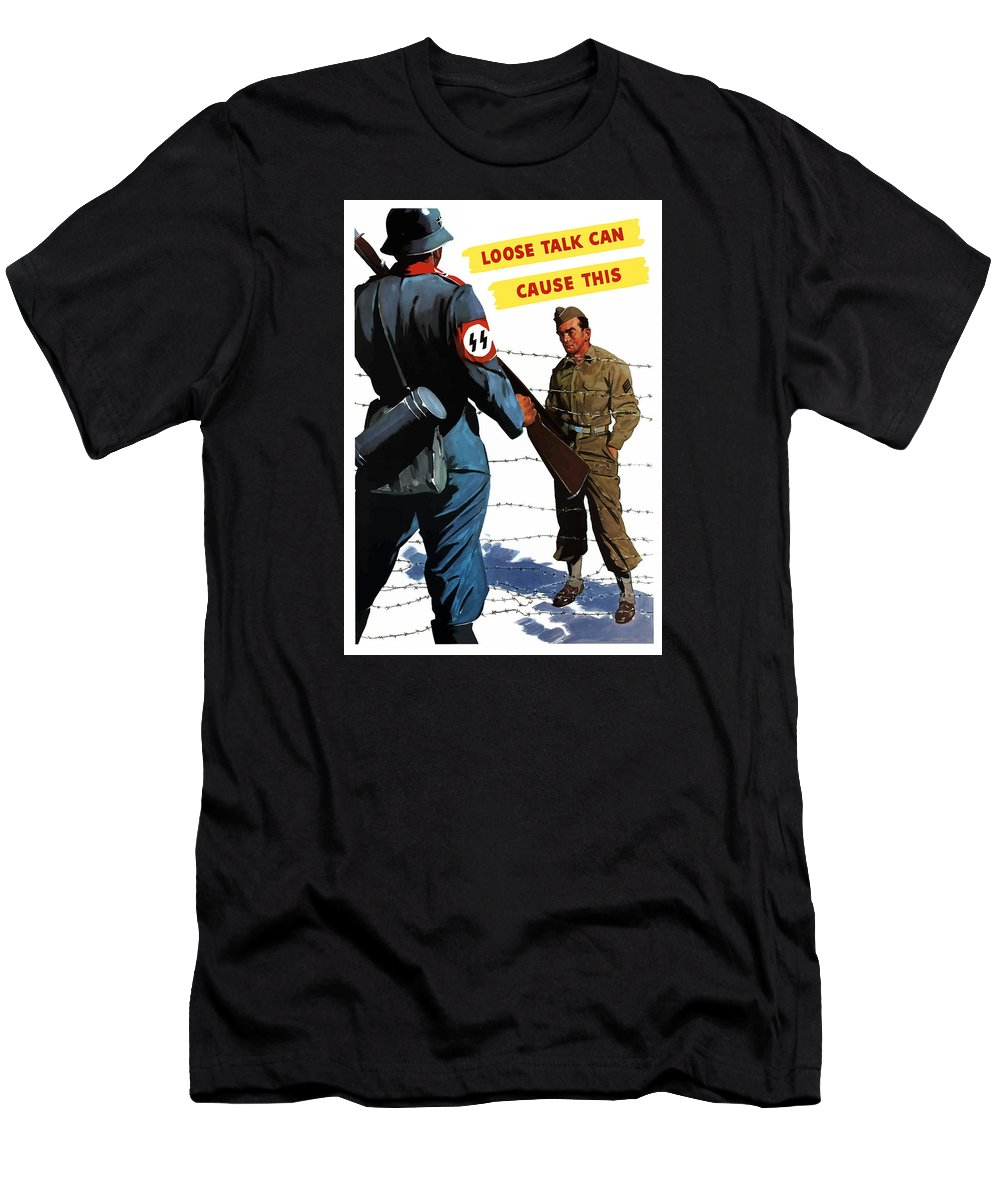 Pow Men's T-Shirt (Athletic Fit) featuring the painting Loose Talk Can Cause -- Ww2 Propaganda by War Is Hell Store