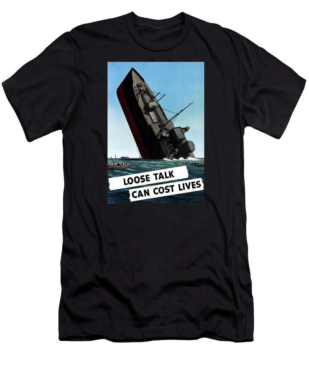 Loose Lips Men's T-Shirt (Athletic Fit) featuring the painting Loose Talk Can Cost Lives by War Is Hell Store