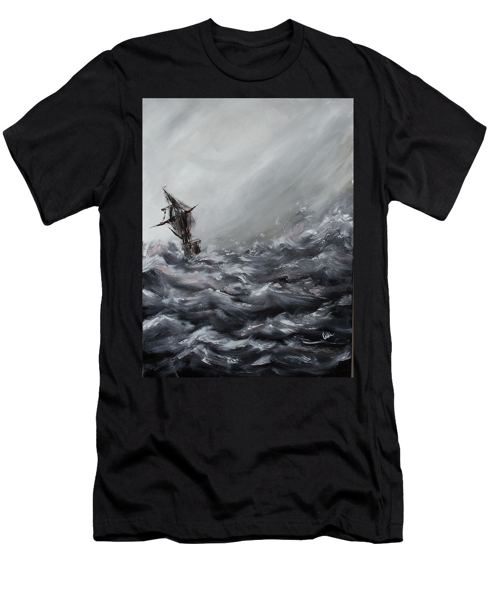 Ocean Men's T-Shirt (Athletic Fit) featuring the painting Lost At Sea by Callie Stevenson