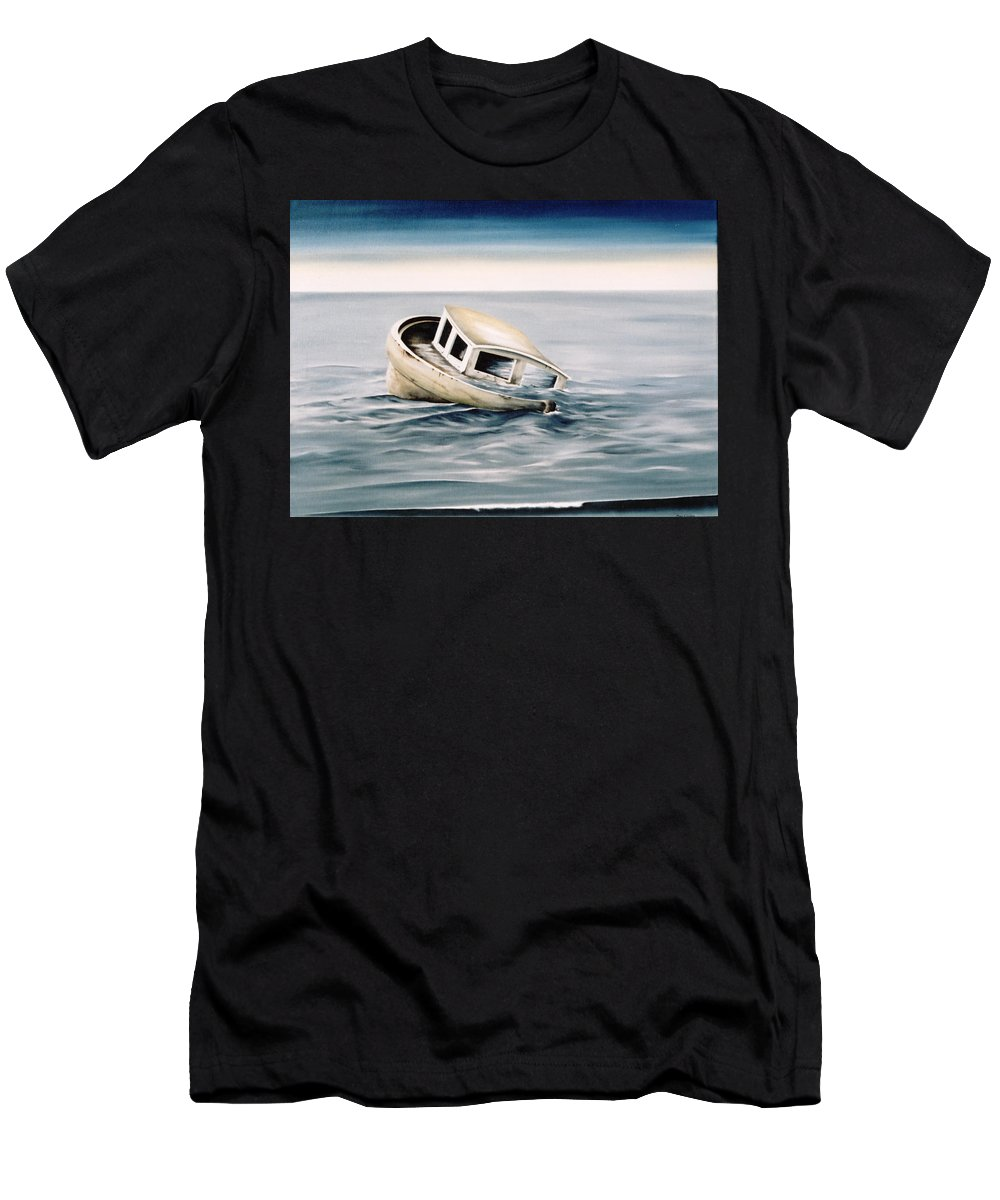 Seascape Men's T-Shirt (Athletic Fit) featuring the painting Lost At Sea Contd by Mark Cawood
