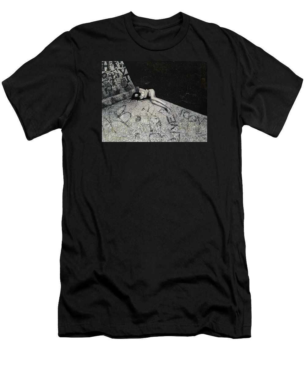 City Men's T-Shirt (Athletic Fit) featuring the painting Lost In New York by Yelena Tylkina