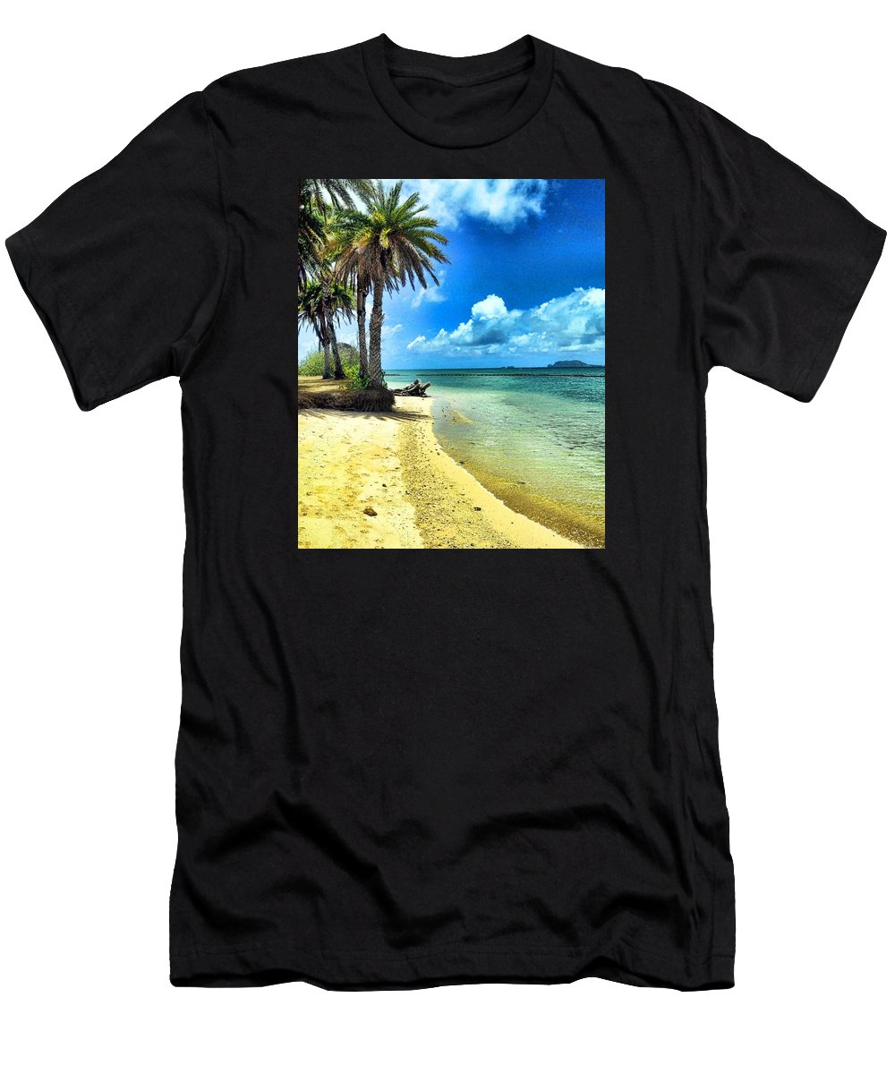 Tropical Island Men's T-Shirt (Athletic Fit) featuring the photograph Lost In Paradise by Lorrie Morrison
