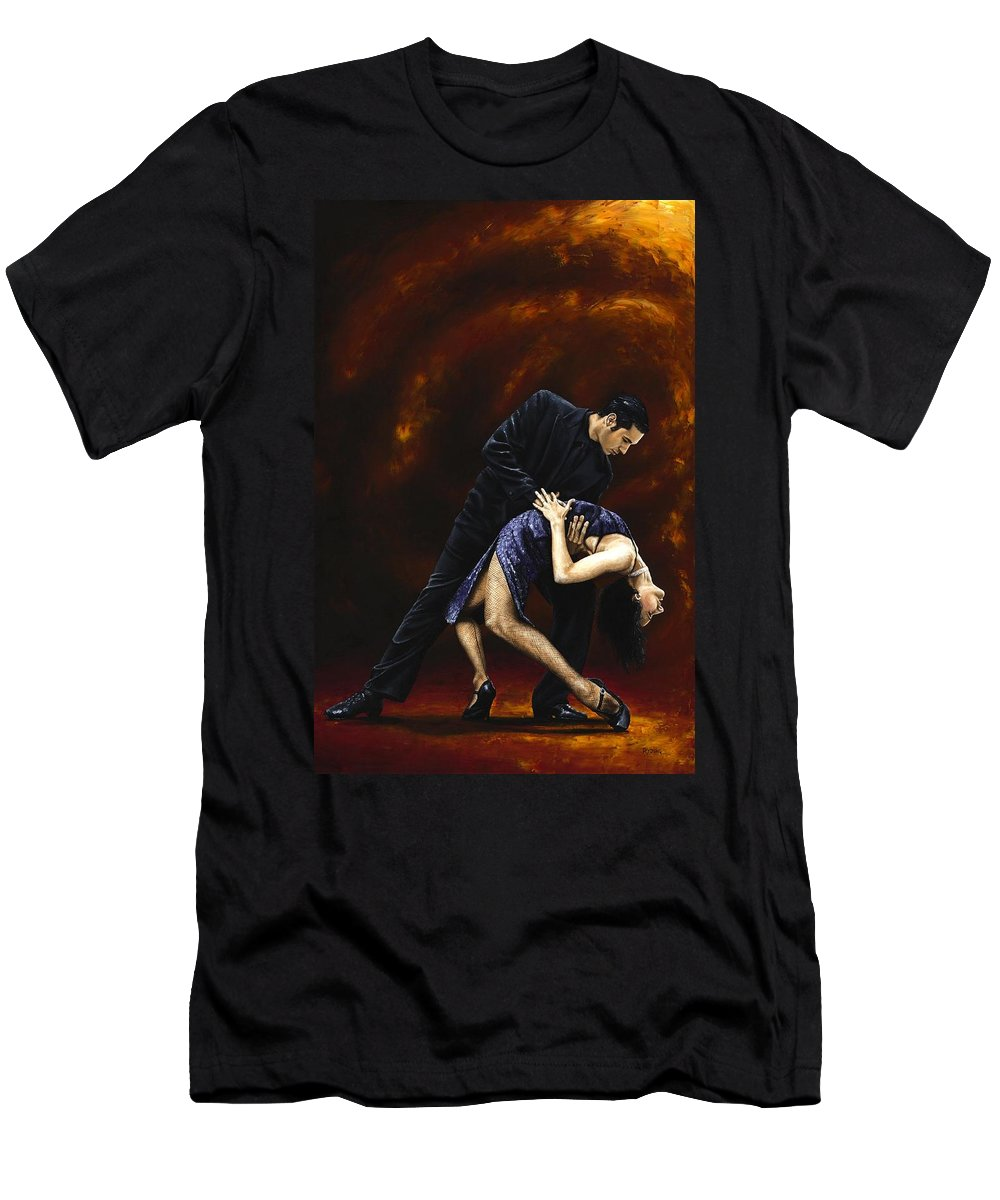 Tango Men's T-Shirt (Athletic Fit) featuring the painting Lost In Tango by Richard Young