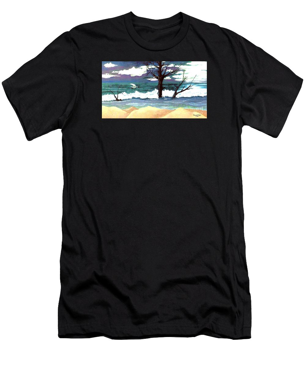 Original Watercolor Painting Men's T-Shirt (Athletic Fit) featuring the painting Lost Swan by Patricia Griffin Brett