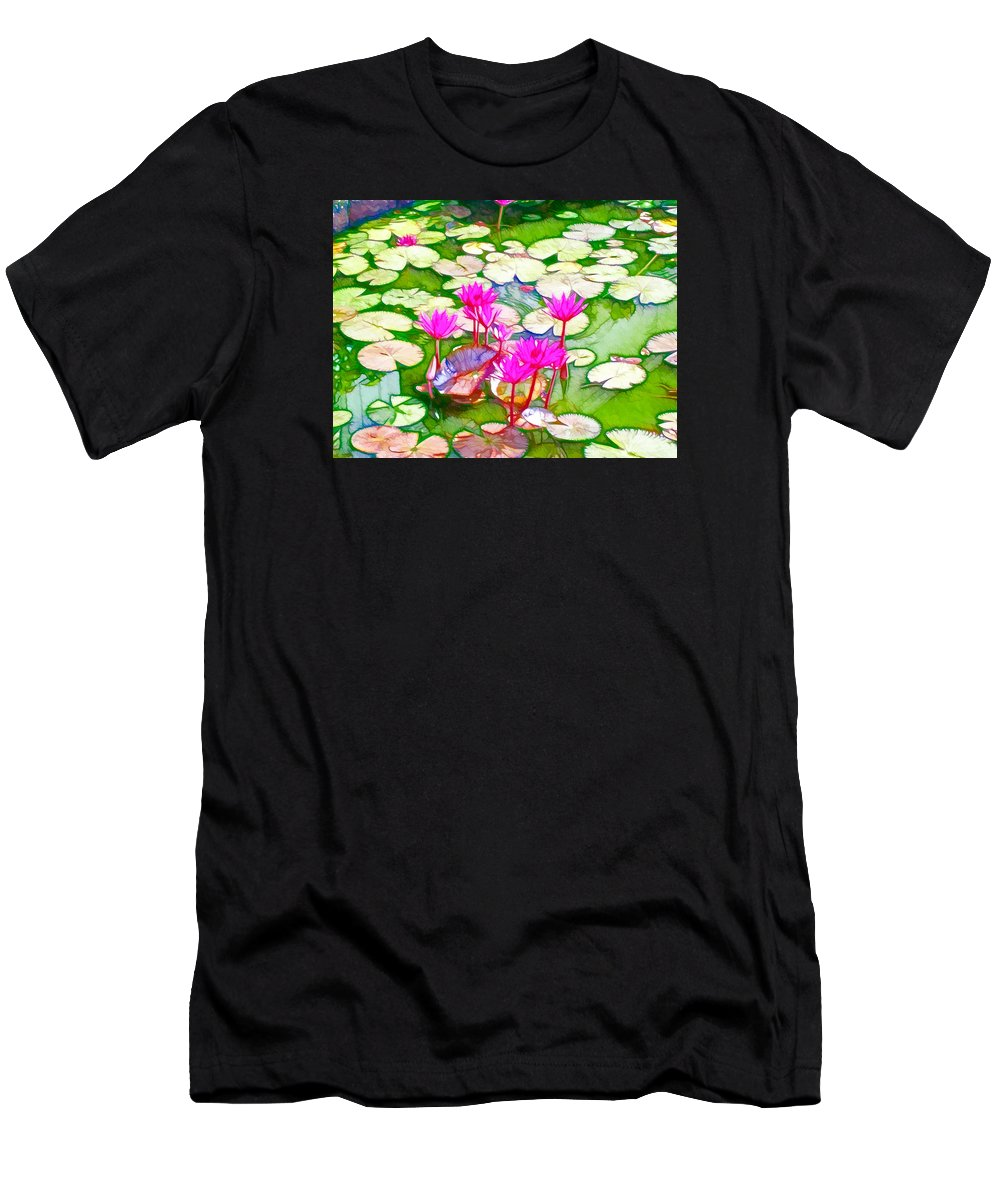 Pond Men's T-Shirt (Athletic Fit) featuring the painting Lotus Flower 3 by Jeelan Clark