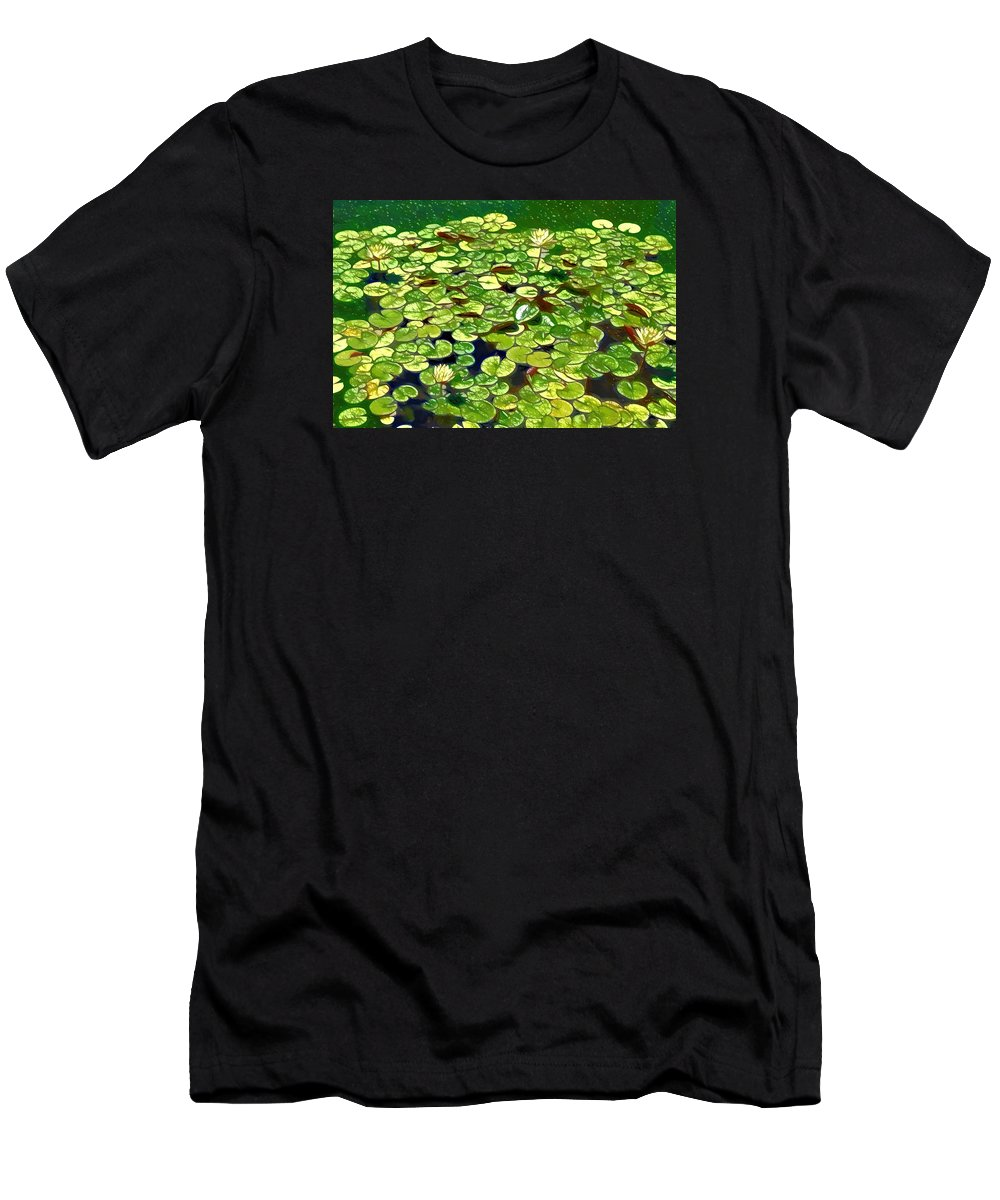 Lotus Flower Born In Water Men's T-Shirt (Athletic Fit) featuring the painting Lotus Flower Born In Water by Jeelan Clark