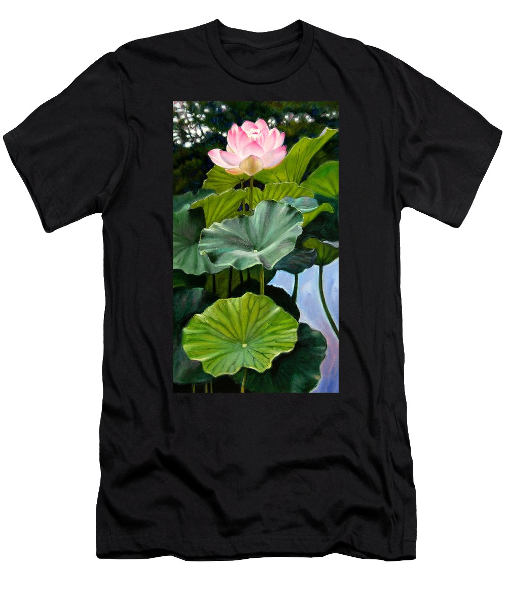 Lotus Flower Men's T-Shirt (Athletic Fit) featuring the painting Lotus Rising by John Lautermilch