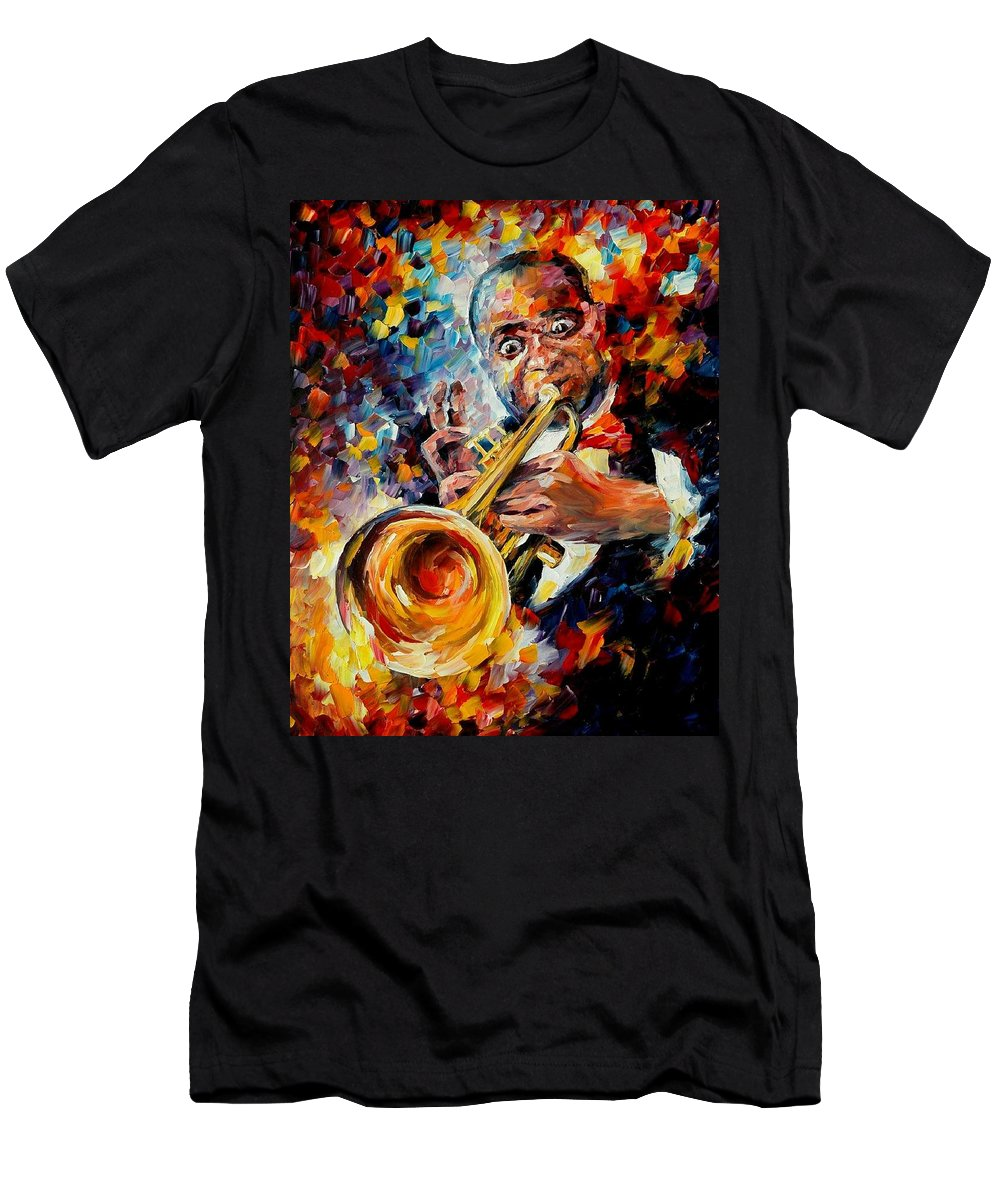 Music Men's T-Shirt (Athletic Fit) featuring the painting Louis Armstrong by Leonid Afremov