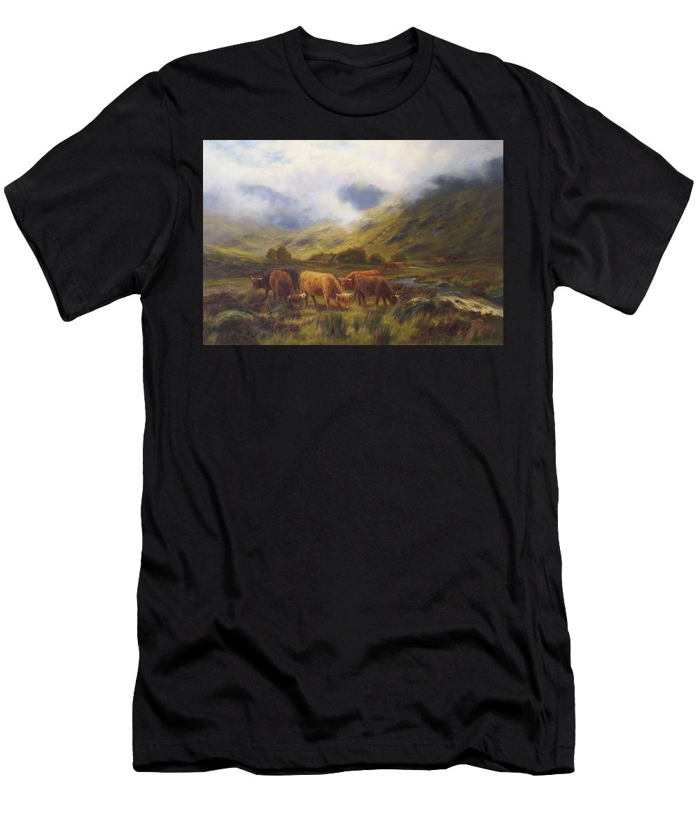 Nature Men's T-Shirt (Athletic Fit) featuring the painting Louis Bosworth Hurt British 1856 - 1929 Highland Cattle by Louis Bosworth Hurt