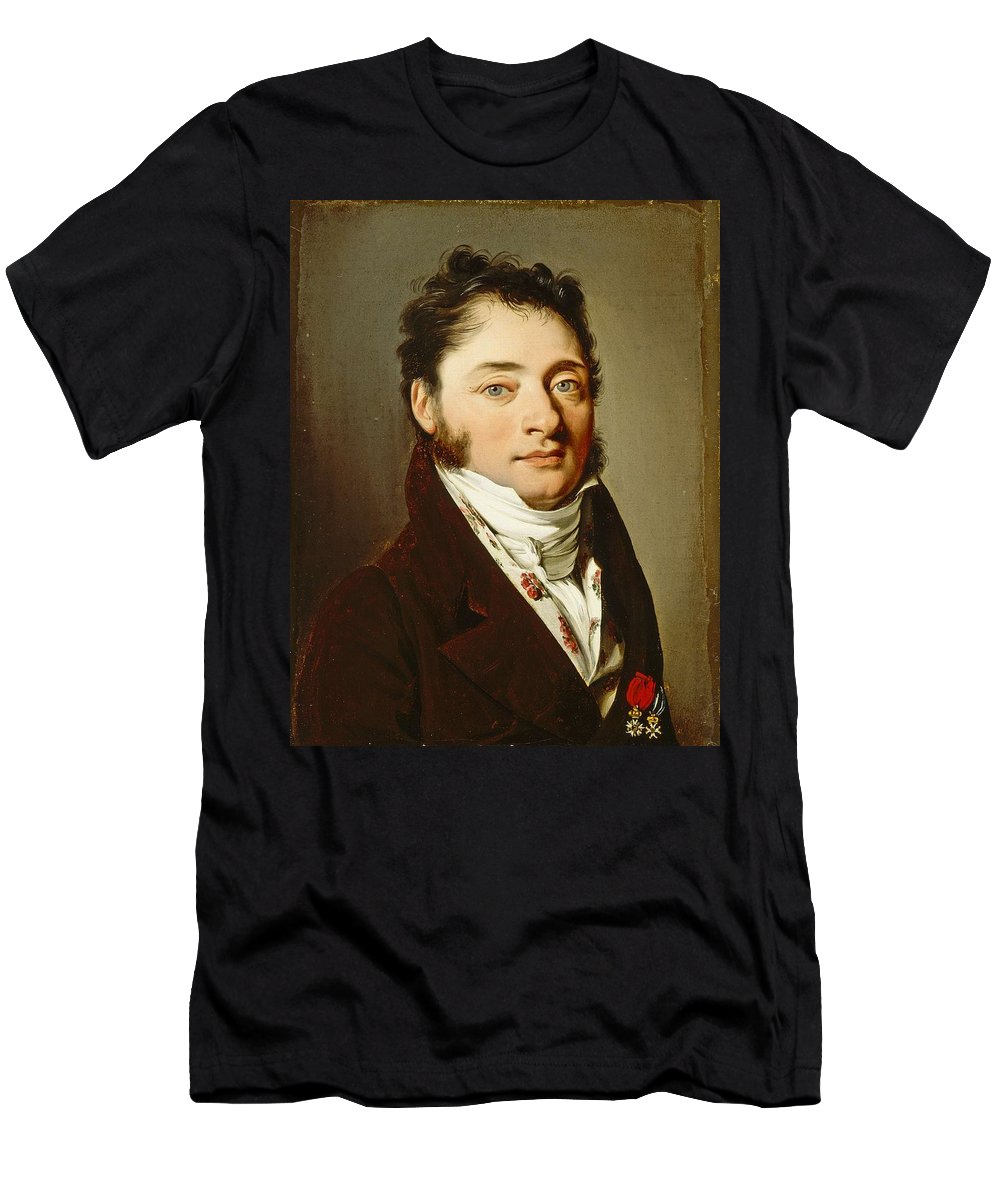 Man Men's T-Shirt (Athletic Fit) featuring the painting Louis-leopold Boilly - Portrait Of A Gentleman by Louis-Leopold Boilly