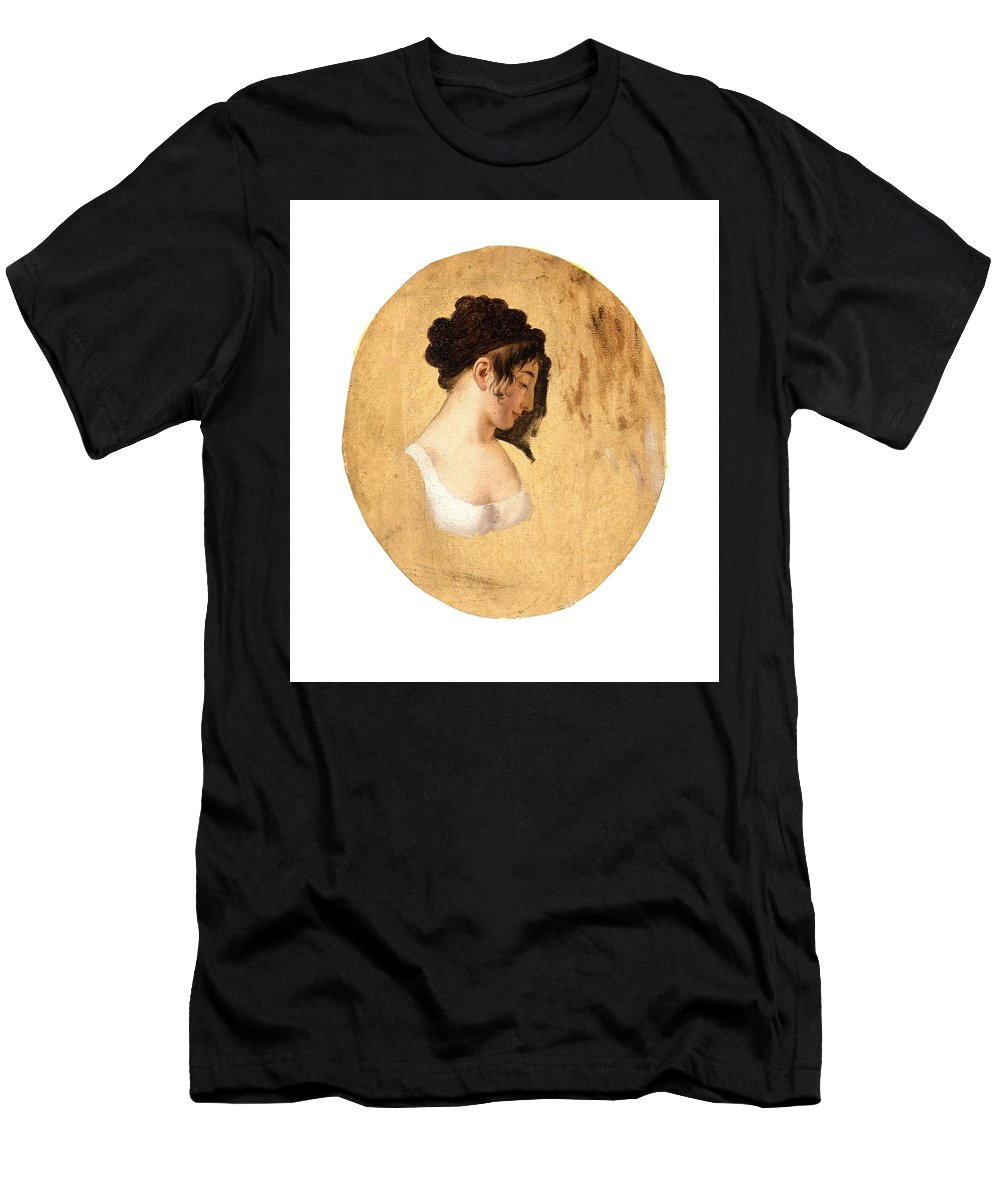 Girl Men's T-Shirt (Athletic Fit) featuring the painting Louis-leopold Boilly - Profile Of A Young Womans Head by Louis-Leopold Boilly