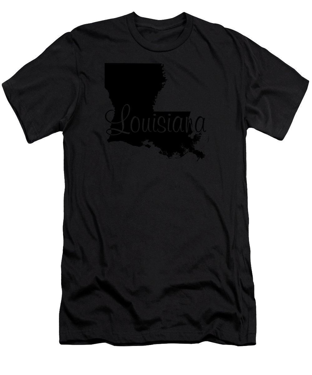 Louisiana Men's T-Shirt (Athletic Fit) featuring the digital art Louisiana In Black by Custom Home Fashions