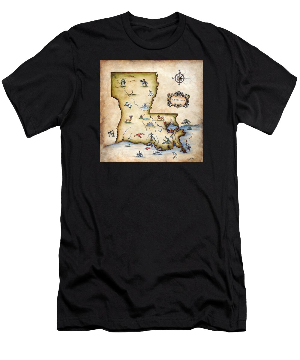 Louisiana Men's T-Shirt (Athletic Fit) featuring the painting Louisiana Map by Judy Merrell
