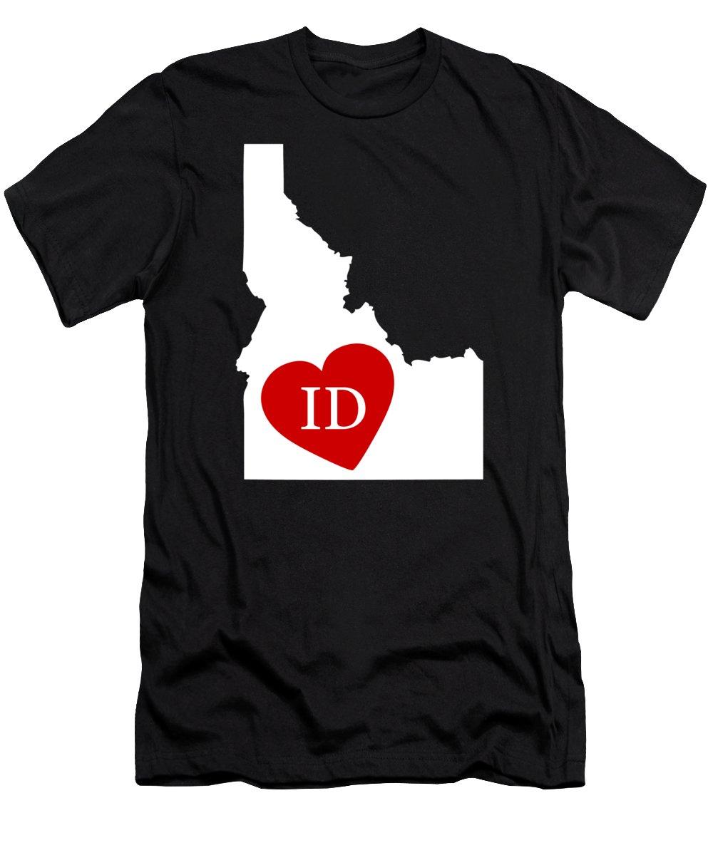 Idaho Men's T-Shirt (Athletic Fit) featuring the digital art Love Idaho White by Custom Home Fashions