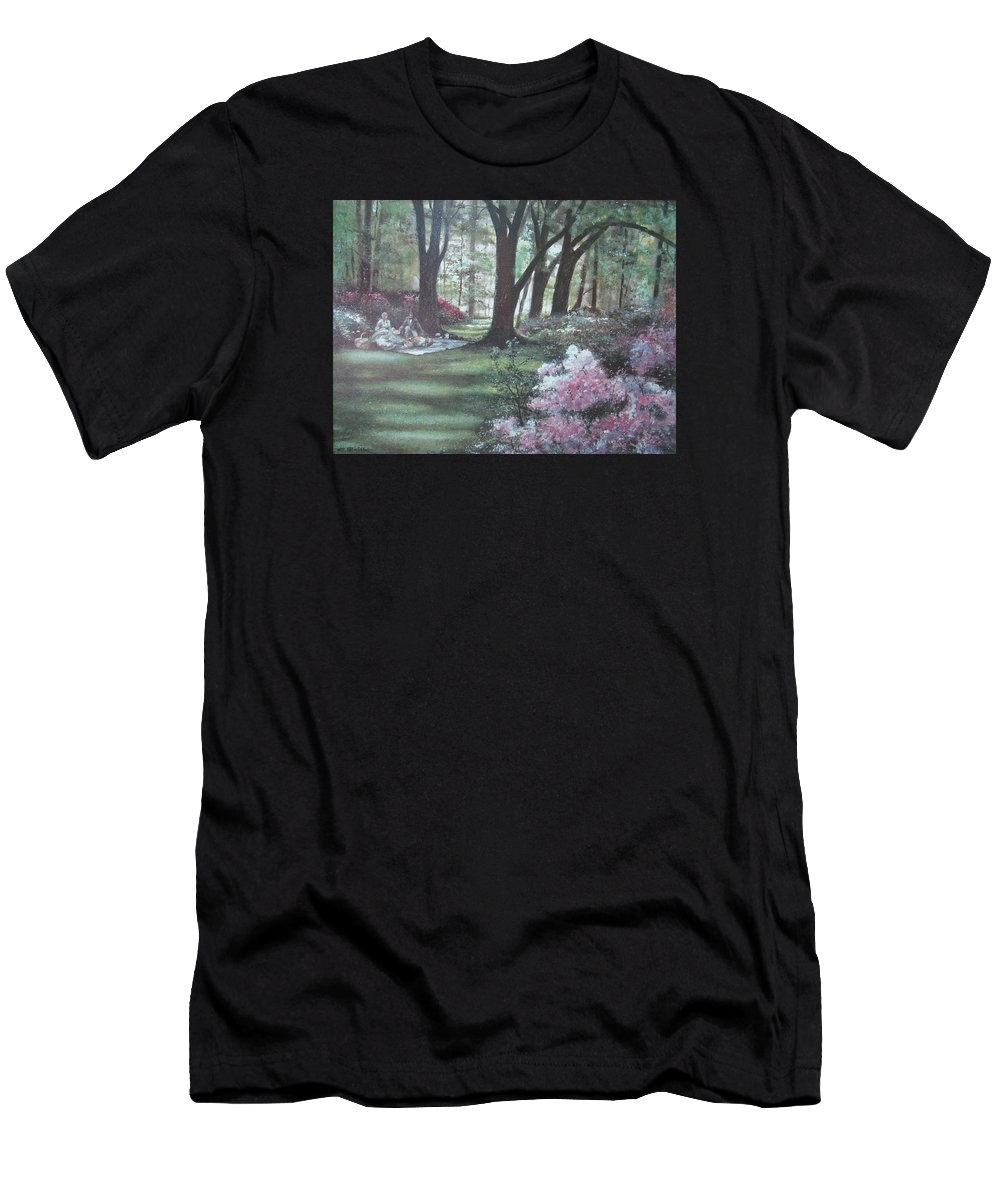 Charles Roy Smith Men's T-Shirt (Athletic Fit) featuring the painting Love In Bloom by Charles Roy Smith