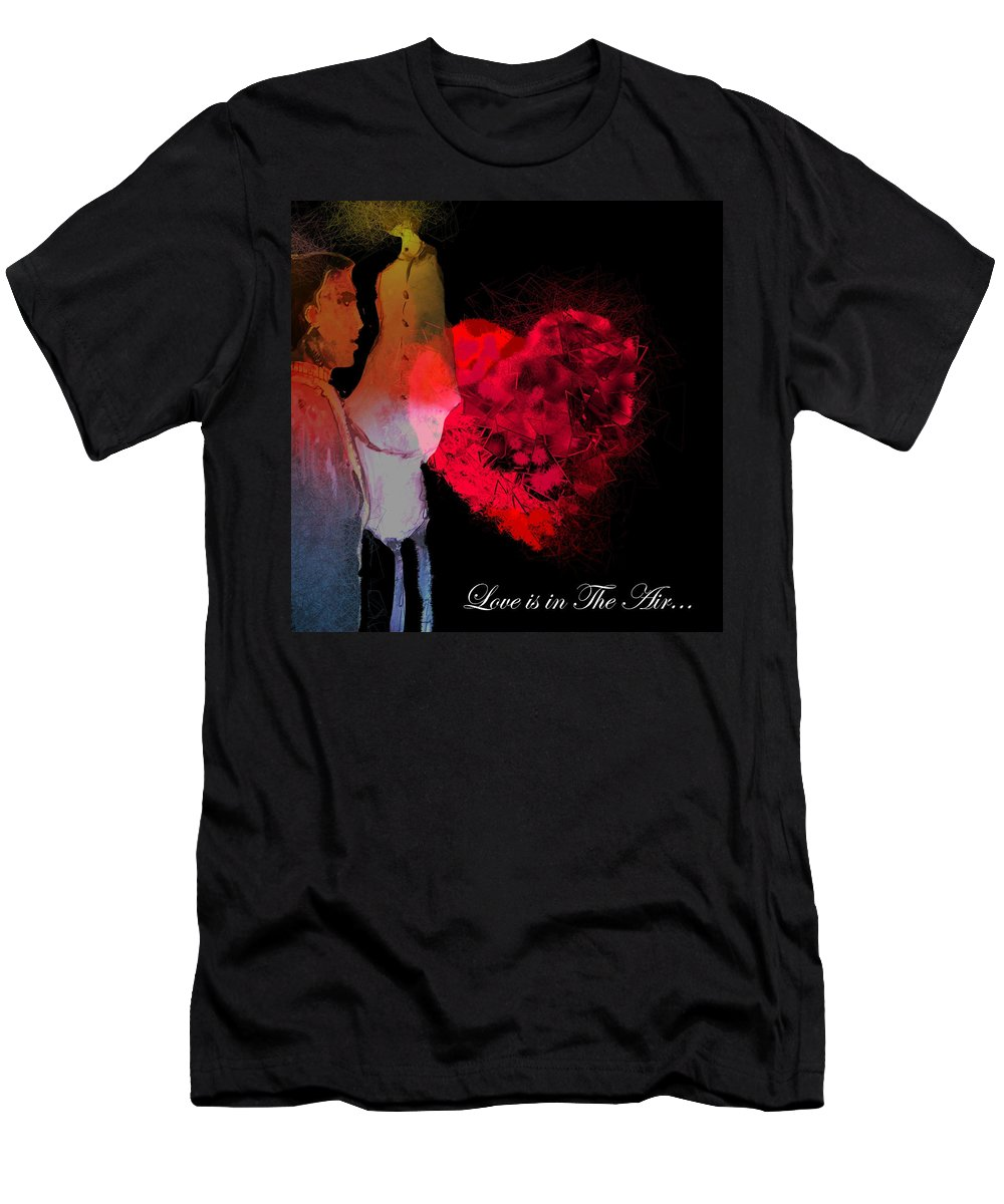 Love Men's T-Shirt (Athletic Fit) featuring the painting Love Is In The Air by Miki De Goodaboom
