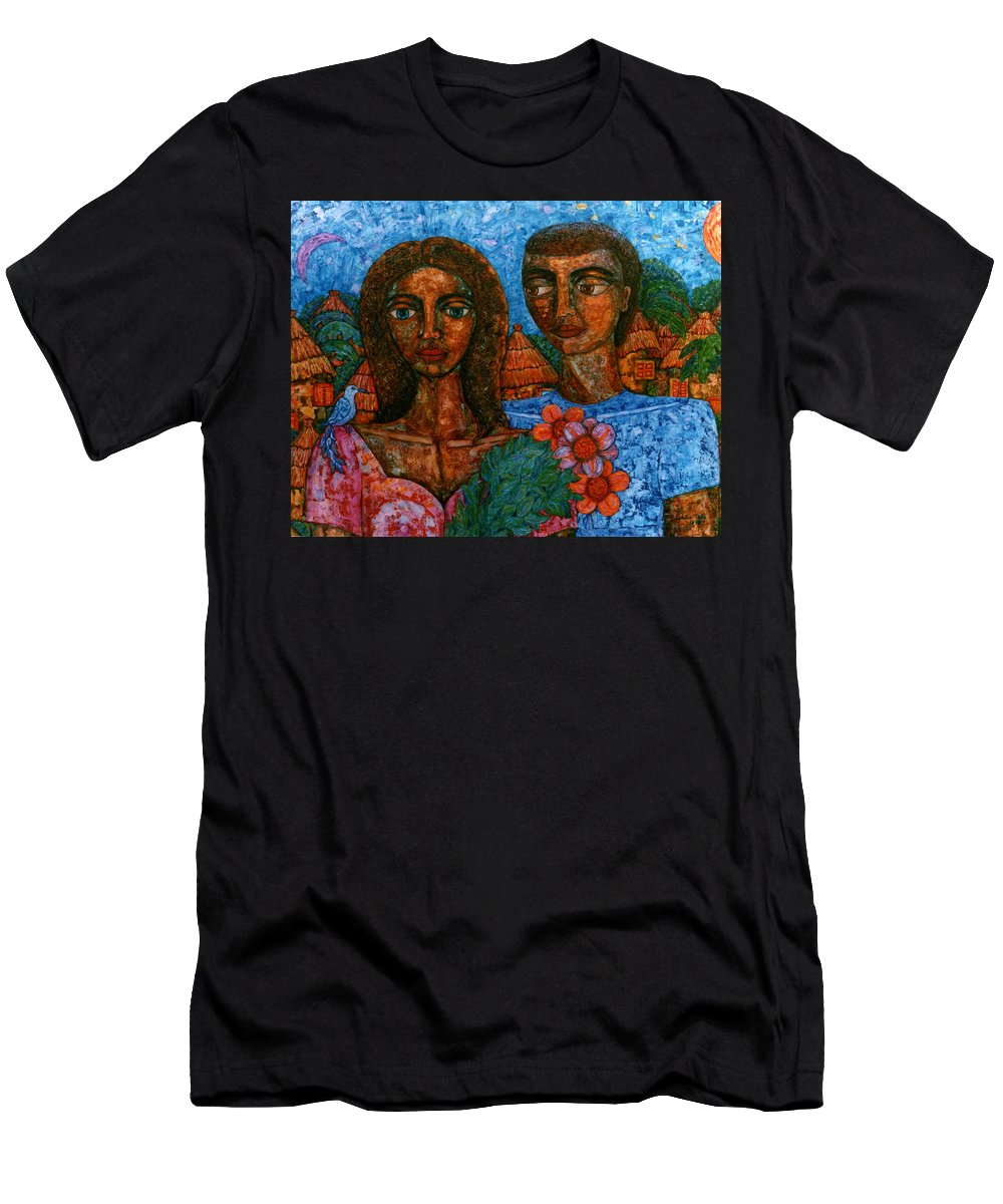 Love Men's T-Shirt (Athletic Fit) featuring the painting Love Is Like A Bird by Madalena Lobao-Tello