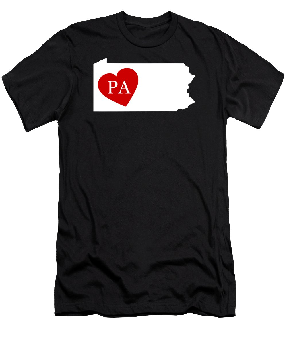 Pennsylvania Men's T-Shirt (Athletic Fit) featuring the digital art Love Pennsylvania White by Custom Home Fashions