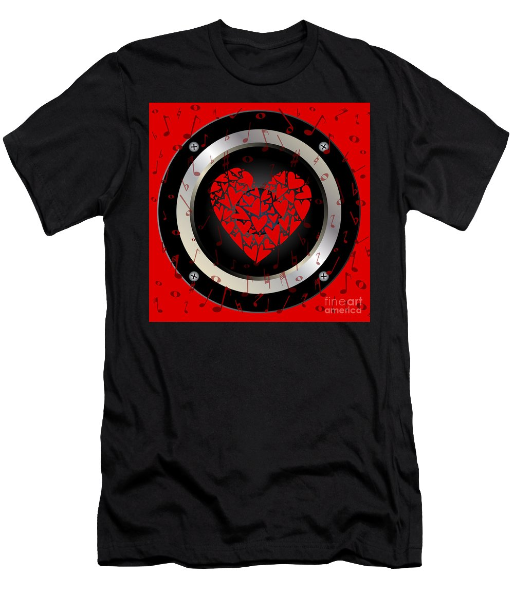 Love Men's T-Shirt (Athletic Fit) featuring the digital art Love Rock Music Speaker by Bigalbaloo Stock