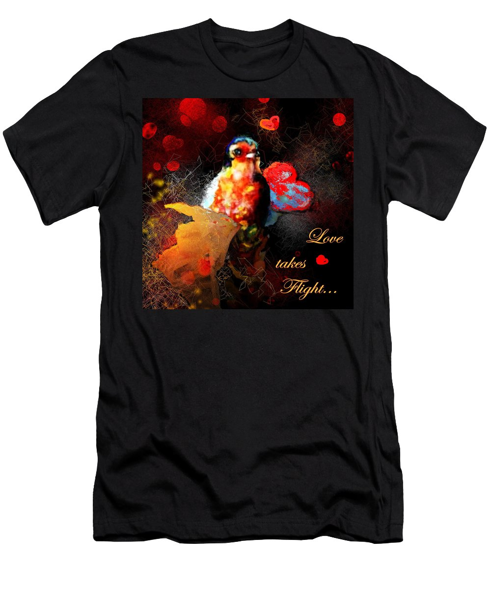Love Men's T-Shirt (Athletic Fit) featuring the painting Love Takes Flight by Miki De Goodaboom