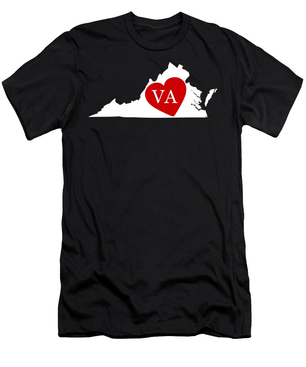 Virginia Men's T-Shirt (Athletic Fit) featuring the digital art Love Virginia White by Custom Home Fashions