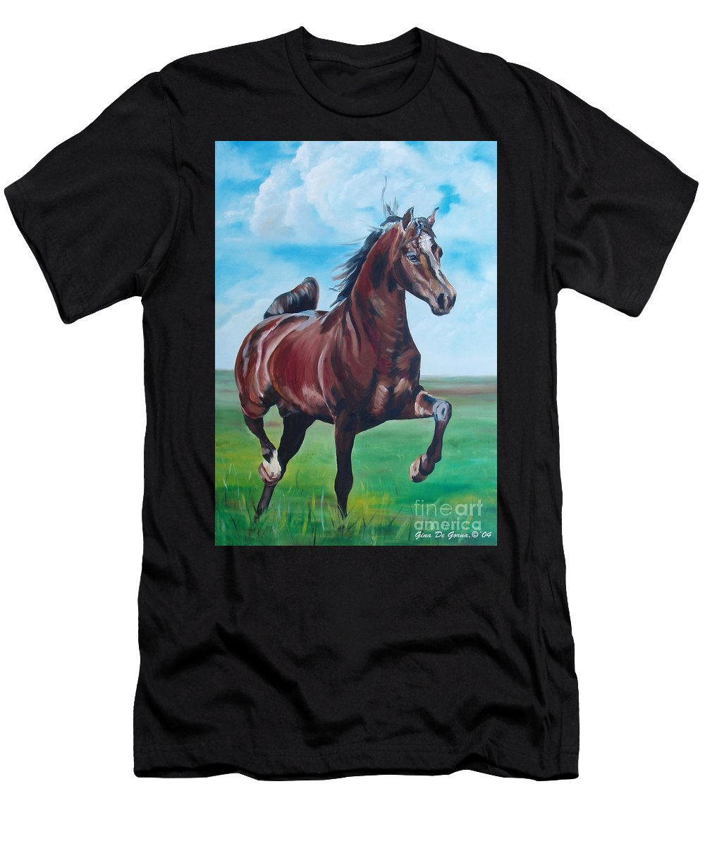 Horse Men's T-Shirt (Athletic Fit) featuring the painting Lovely by Gina De Gorna