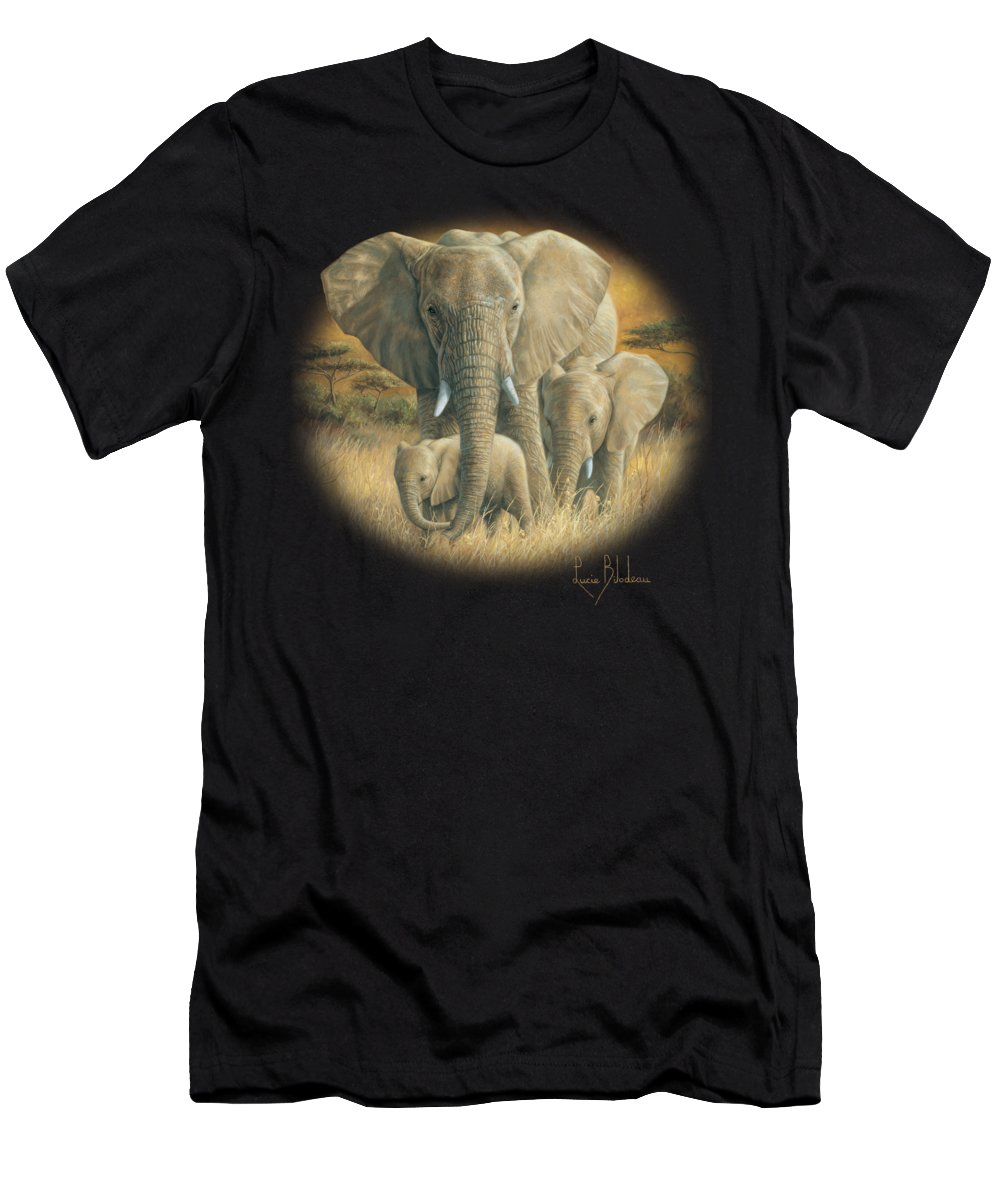 Elephant Men's T-Shirt (Athletic Fit) featuring the painting Loving Mother by Lucie Bilodeau