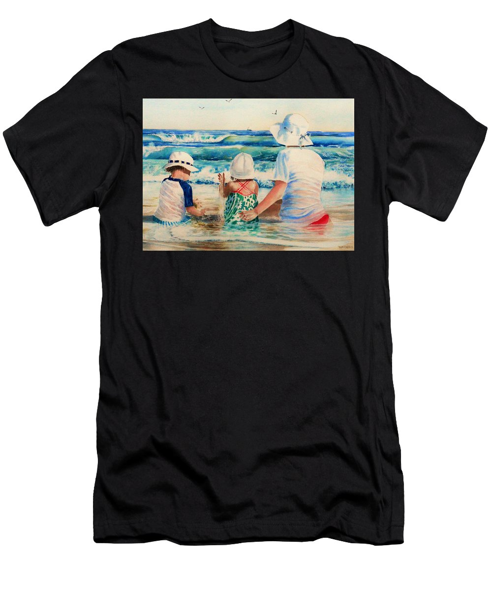 Beach Men's T-Shirt (Athletic Fit) featuring the painting Low Tide by Tom Harris