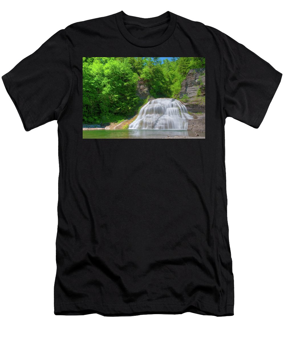 Waterfalls Men's T-Shirt (Athletic Fit) featuring the photograph Lower Falls 0485 by Guy Whiteley