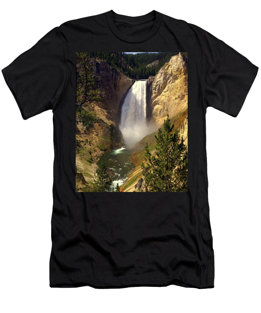 Waterfall Men's T-Shirt (Athletic Fit) featuring the photograph Lower Falls by Marty Koch